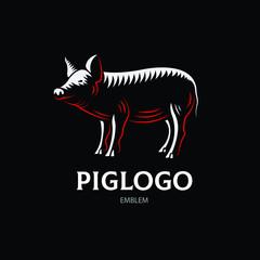 Pig logotype - vector farm illustration