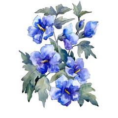 Blue flowers bouquet on white background. Watercolor illustration set. Isolated bouquet illustration element.