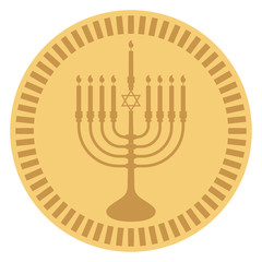 Hanukkah Gelt - Chocolate coin wrapped in gold menorah design often given to Jewish children during Hanukkah