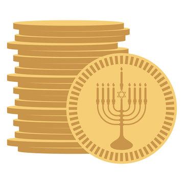 Hanukkah Gelt - Stack of chocolate coins wrapped in gold menorah design often given to Jewish children during Hanukkah