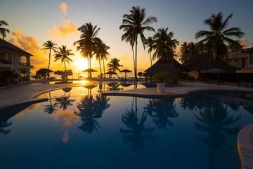 Zanzibar, landscape sea, palms beach, sunset
