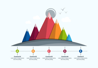3D Mountain Range Infographic Layout
