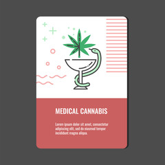 Medical cannabis vertical banner with line icon of snake twined around bowl with marijuana leaf - isolated vector illustration of legalization and pharmacy use of hemp concept.
