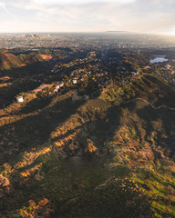 Aerial of a rural neighborhood with downtown Los Angeles, California in the distance