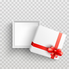 White present box with red ribbon bow top view. Vector opened surprise package for christmas, birthday celebration design. Boxing day, black friday discount banners element, transparent background