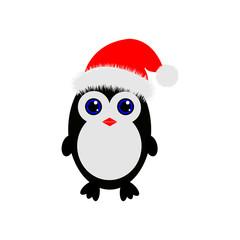Christmas Cute Little Penguin with Santa s Cap. vector