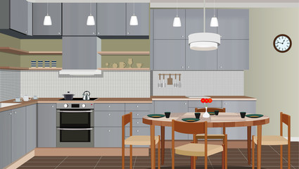 Kitchen interior background with furniture. Design of modern kitchen. Kitchen illustration