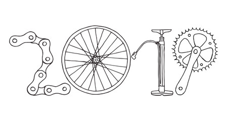 Hand drawn 2019 Bicycle Happy New Year vector