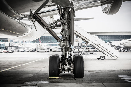 Landing gear on ground, aircraft tires, airplane tires
