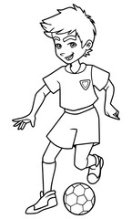 Full length line art illustration of skilled and competitive boy dribbling during football match against white background for copy space.