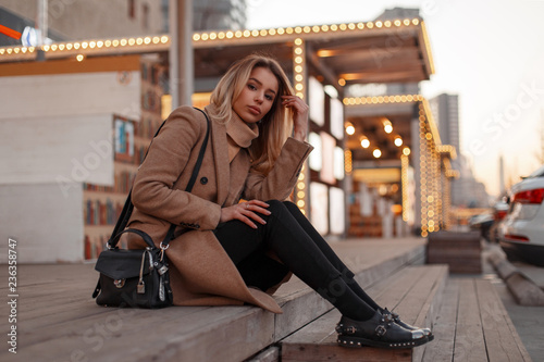 Beautiful Young Attractive Fashionable Woman In A Stylish