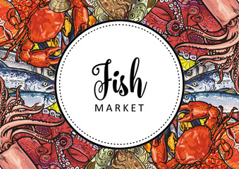 Vector fish market, seafood restaurant, cafe logo, advertising poster with square underwater animals delicacy pattern. Marine composition with squid meat steak octopus and trout with seashells