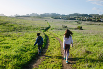 Rear view of siblings walking on trail amidst grassy field against sky during sunny day