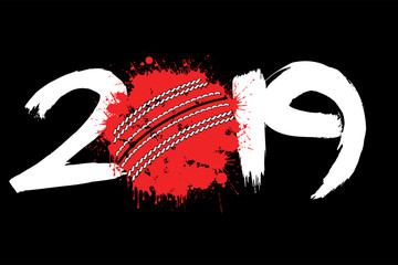 Abstract number 2019 and a cricket ball from blots