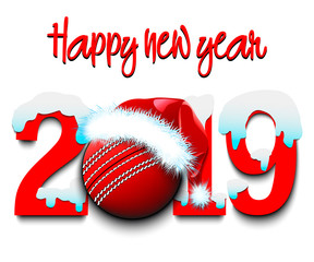 New Year numbers 2019 and cricket ball