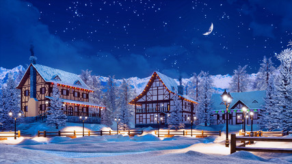 Cozy snowbound european township among snowy alpine mountains with illuminated half-timbered houses at calm winter night with half moon in starry sky. 3D illustration.