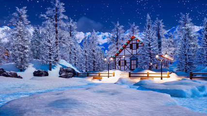 Wall Mural - Snowbound illuminated half-timbered rural house among snow covered fir trees high in alpine mountains at starry winter night. With no people 3D illustration.