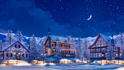 Wall Mural - Snowbound european town among alpine mountains with half-timbered houses illuminated by christmas lights at winter night with crescent in starry sky. 3D illustration.