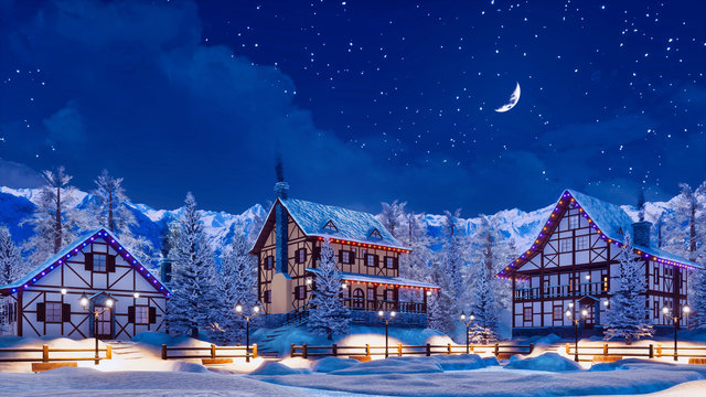 Snowbound european town among alpine mountains with half-timbered houses illuminated by christmas lights at winter night with crescent in starry sky. 3D illustration.