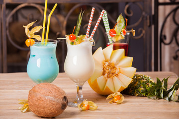 cocktail with fruits and flowers