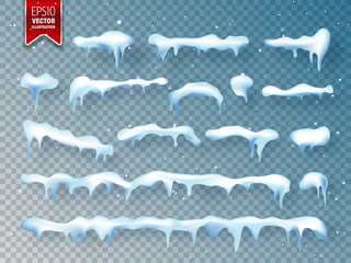 Realistic 3d snow, ice cap with shadow. Snowfall and snowflakes. Winter season. Christmas and New Year time.
