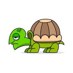 Cute cartoon turtle vector illustration on white background. Poster template.