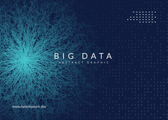 Big data background. Technology for visualization, artificial intelligence, deep learning and quantum computing. Design template for software concept. Modern big data backdrop.