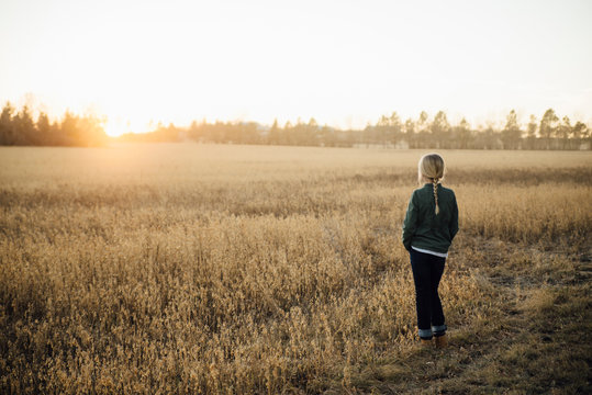 Rear view of girl standing in field during sunset
