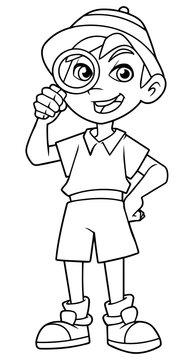 Cartoon line art illustration of happy little explorer with magnifier.