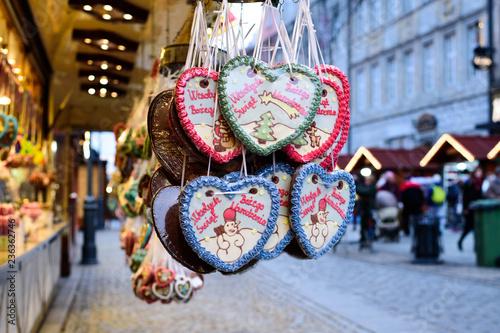 Polish Christmas Cookies.Gingerbread Hearts At Polish Christmas Market Wroclaw Xmas