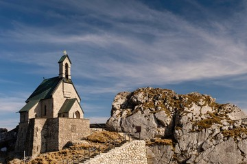 Chapel Wendelsteinkircherl, summit, Wendelstein, Bayrischzell, Germany, Europe