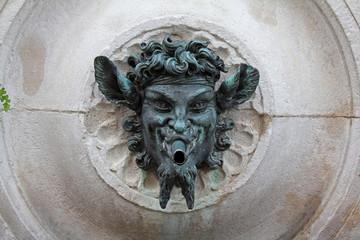Ancona; cannello con volto di fauno della Fontana del Calamo