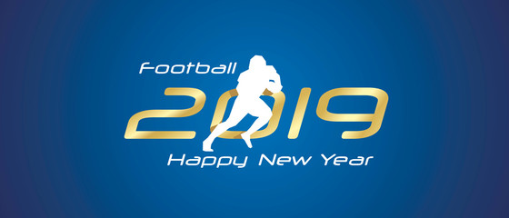 American football silhouette 2019 Happy New Year gold white logo icon blue background