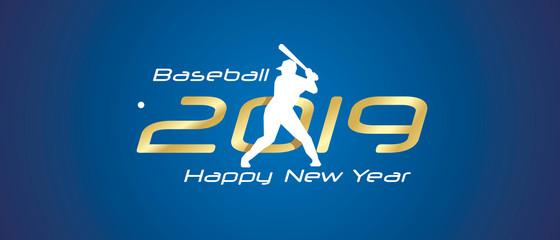 Baseball silhouette 2019 Happy New Year gold white logo icon blue background