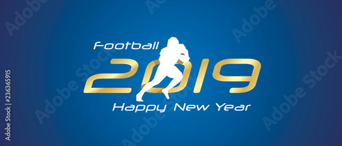 American Football Silhouette 2019 Happy New Year Gold White Logo