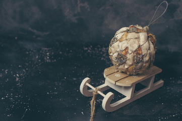 Xmas decoration on a wooden sleigh
