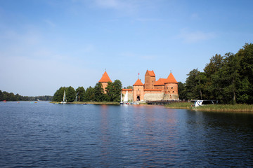 Scenic view of Trakai Castle and lakes by early autumn, Lithuania