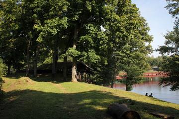 Scenic landscape of lakes and hills near Trakai Castle, Lithuania