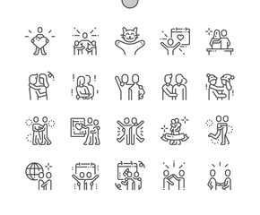 International Hug Day Well-crafted Pixel Perfect Vector Thin Line Icons 30 2x Grid for Web Graphics and Apps. Simple Minimal Pictogram