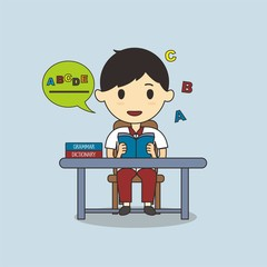 Student learing language lesson vector illustration
