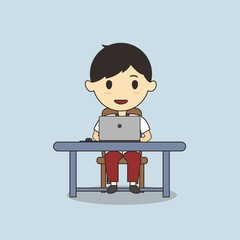 Student using laptop vector