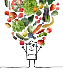 Cartoon Man Throwing Up a Fruits and Vegetables Set