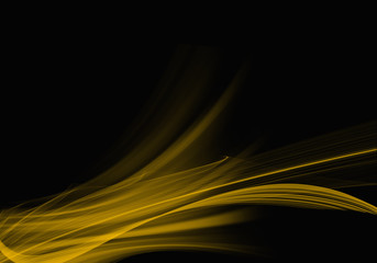 Elegant dark abstract background design with yellow curves and space for your text
