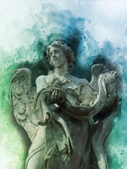 Antique statue of angel in watercolor style