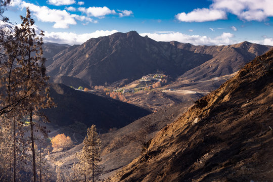 California Wildfire Landscape from Malibu after the Woosley Fire in November 2018