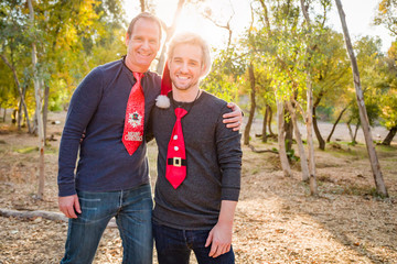 Handsome Festive Father and Son Portrait Outdoors