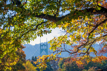 View of St Johns Bridge through the foliage of autumn trees