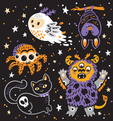 Creative vector set with cartoon monster and spooky animals. Vector illustration