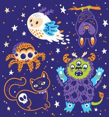 Funny Halloween collection of cartoon animals. Vector illustration