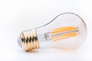 clear glass bulb on white background